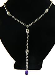 Amethyst Lariat Dangle Necklace