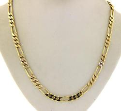 14kt Solid Yellow Gold Figaro Link Necklace
