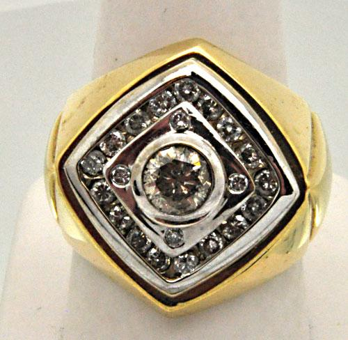 Heavy Gents Diamond Ring with Over 1.00 CARAT TOTAL WEIGHT
