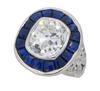 Art Deco Diamond and Blue Sapphire Ring
