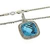 BLUE TOPAZ & DIAMOND PENDANT NECKLACE