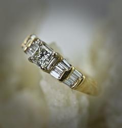 14K Half Carat Princess Cut Engagement Ring