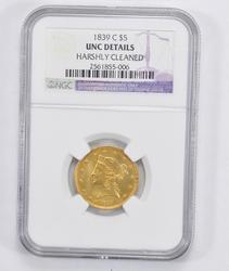 Unc Details 1839-C $5.00 Liberty Head Gold Half Eagle - NGC Graded