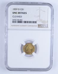 Unc Details 1859-D Indian Princess Head Gold Dollar - Cleaned - NGC