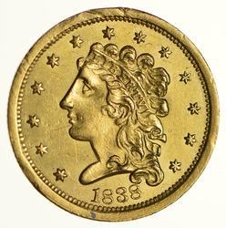 1838 $2.50 Classic Head Gold Quarter Eagle - Near Uncirculated