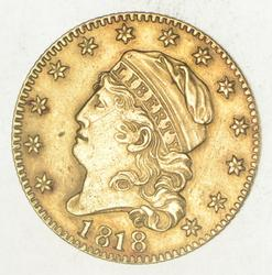 1818 $5.00 Capped Head To Left Gold Half Eagle
