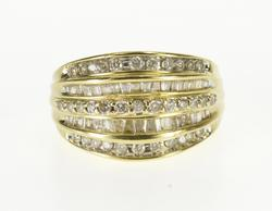 10K Yellow Gold 1.46 Ctw Diamond Channel Inset Tiered Design Ring