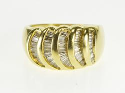 18K Yellow Gold 1.54 Ctw Baguette Diamond Curved Channel Set Ring