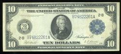 Appealing 1914 Series Large Size $10 Federal Res Note