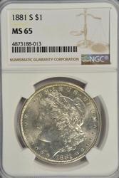 Impressive Gem BU 1881-S Morgan Silver Dollar. NGC MS65
