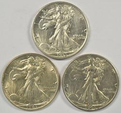 Nice 1935, 1943, & 1944-S Walking Liberty Half Dollars