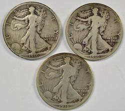 Scarce 1916-P, 1916-D, & 1916-S Walking Liberty Halves