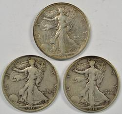 Sharp 1918-P, 1918-D, & 1918-S Walking Liberty Halves