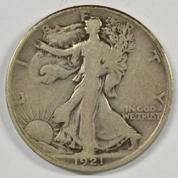 Rare key date 1921-D Walking Liberty Half Dollar in VG