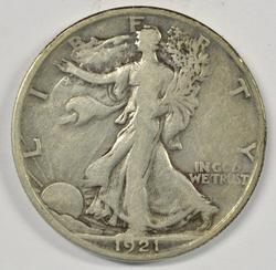 Rare key date 1921-S Walking Liberty Half in Fine+