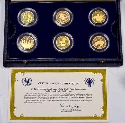 1979 Year of the Child 6 Coin Gold Set, In Box