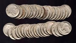 Roll of 40 Buffalo Nickels from the Teens