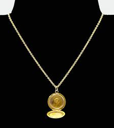 Tiny 14kt Yellow Gold Locket Pendant Necklace