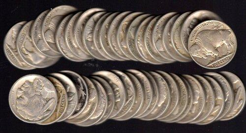 Roll of 40 Full Date Buffalo Nickels: 1920-1930