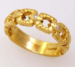 Gold Buckle Band with Diamonds, Size 8