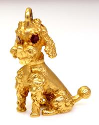Detailed Gold Poodle Pendant with Rubies