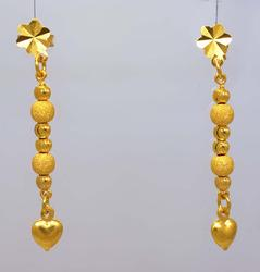 22K Gold Post Dangle Earrings