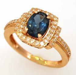 London Blue Topaz & Diamond Ring, Size 6.75