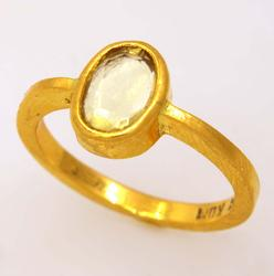 Clear Quartz Ring in 22K Gold, Size 6.25