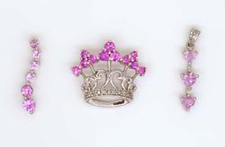 Three Pink Sapphire Pendants in White Gold