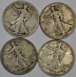 1927 S 1934 S 1936 and 1942 S Walkers Silver Half Dollars