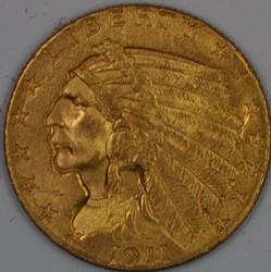 1911 Uncirculated US Gold Indian Quarter $2.50 Eagle