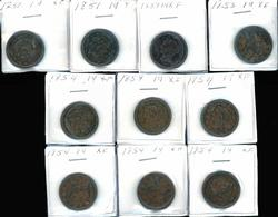 Collector lot of 10 Braided Hair Large Cents in XF