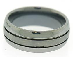 Titanium Grooved Gent's Band