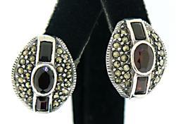 Marcasite and Garnet Earrings