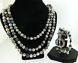 Set of Multi Strand Pearl Necklace and Bracelet