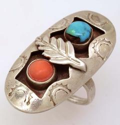 Coral & Turquoise Native American Ring, Size 6.75