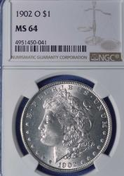 Near Gem 1902-O MS64 Morgan $, NGC