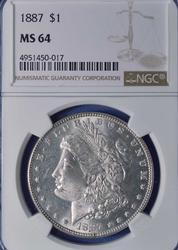Near Gem 1887 MS64 Morgan $, NGC