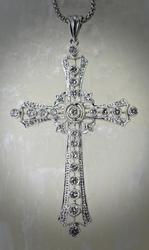 Gorgeous 18K White Gold Filigree Diamond Cross