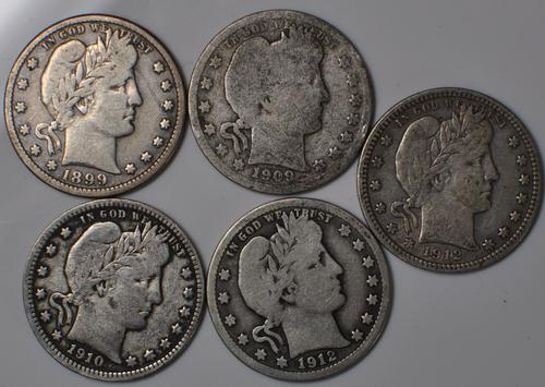 1899 O 1909 O 1910 1912 and 1912 S Barber Quarters Silver US 25 Cent Coins