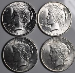 2 Each 1922 and 1925 Frosty White BU Peace Dollars