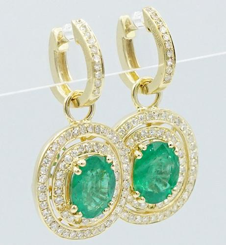 14KT Yellow Gold Emerald & Diamond Dangle Earrings