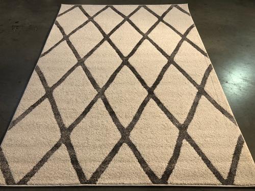 Elegant Modern Lattice Design Neutral Area Rug 8x10