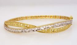Two Tone Etched Gold Hinged Bangle