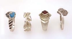 Four Assorted Rings, Diamonds, Garnet, Etc