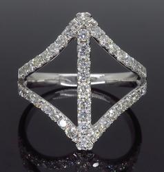 14K White Gold Negative Space Diamond Ring