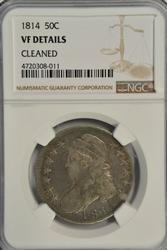 Very scarce 1814 Capped Bust Half Dollar NGC VF Details
