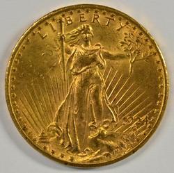 Choice BU 1924 St. Gaudens $20 Gold Piece. Flashy