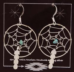 Navajo Crafted Dream Catcher Sterling Earrings