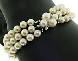 Triple Strand Pearl Bracelet with Pearl Clasp